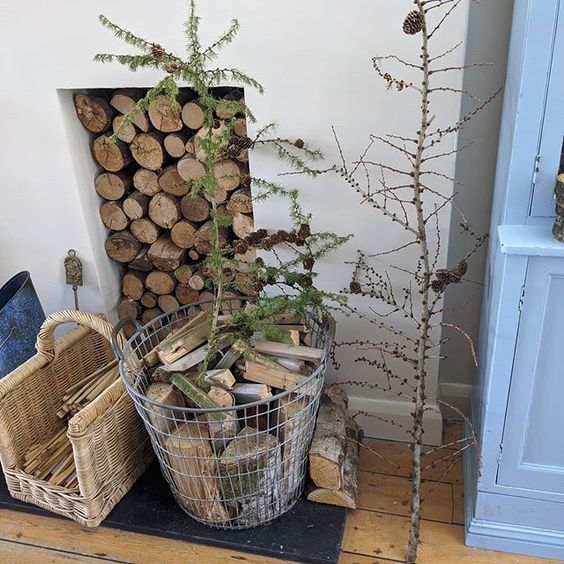 Styling foraged finds from a walk. Branches styled in a living room