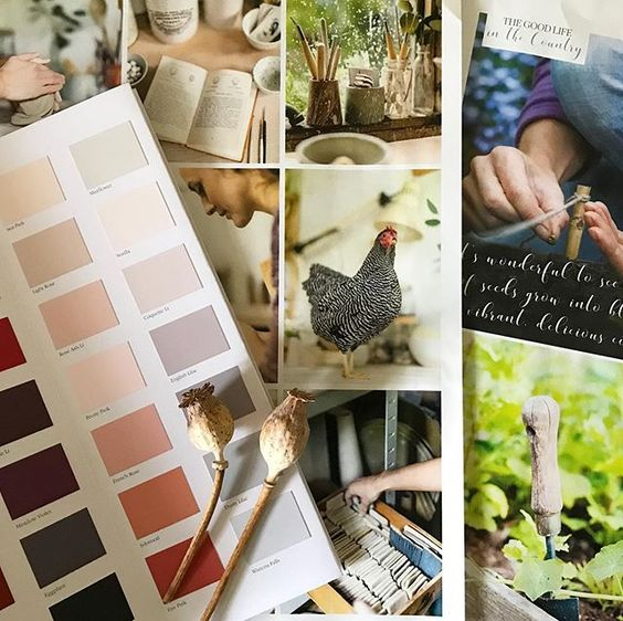We love interior magazines! Interior lifestyle flatlay of pages of a magazine and a paint colour chart.