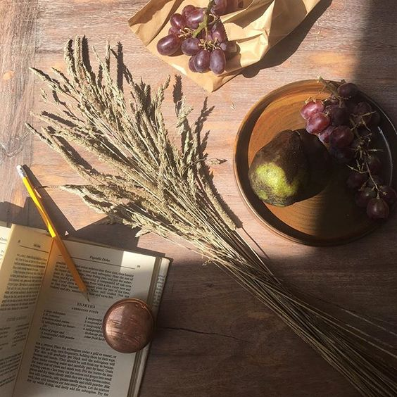 Styling foraged finds from a walk. Flatlay of wheat on a wooden table with fruit.