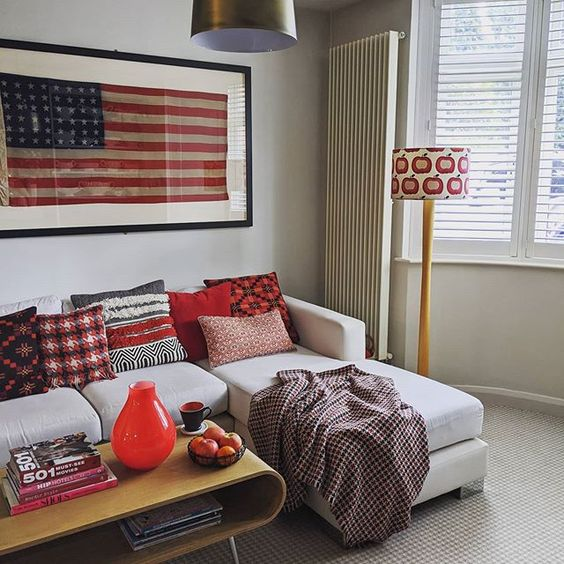 How to use colour in a room. Living room featuring American flag and red, white and blue interior accessories