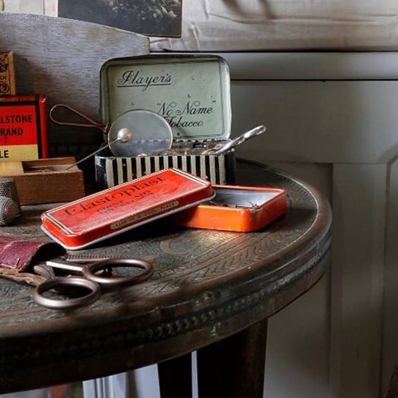 20 of the best vintage interiors in the UK. Vintage hair care items on a side table.