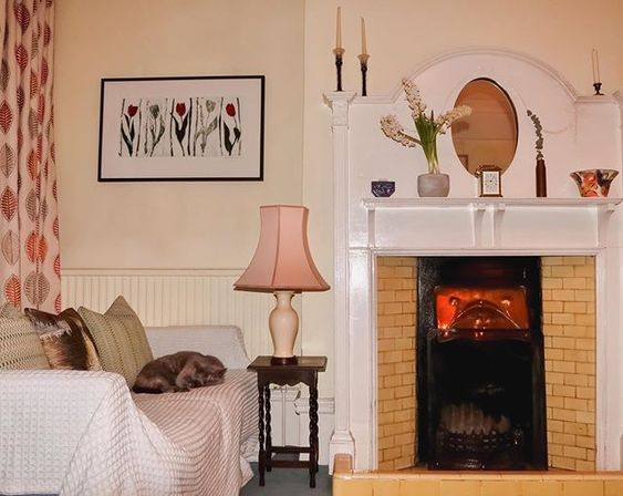 How to use colour in a room. Living room styled in soft pink hues