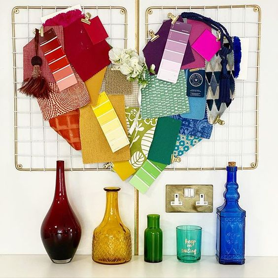 How to use colour in a room. Colourful heart display made from paint swatches and fabric samples