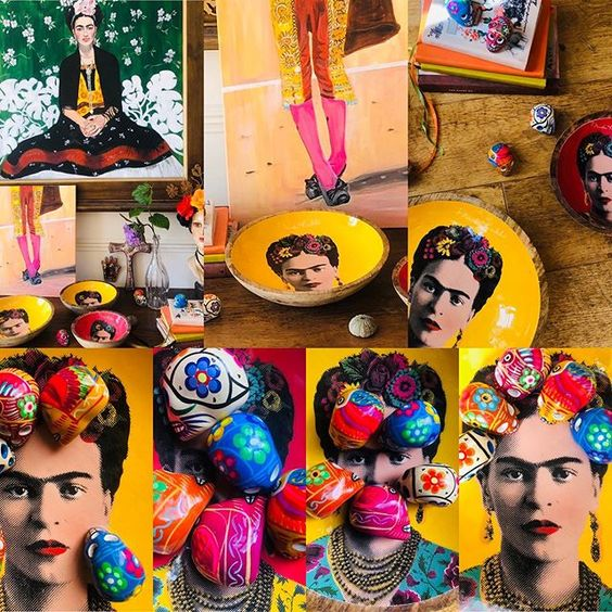 How to use colour in a room with colourful Frida Kahlo prints.