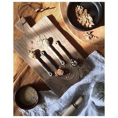 The secret styling tip for adding personality to your home that you need to know! Lifestyle flat lay of some wooden spoons on a chopping board and spices
