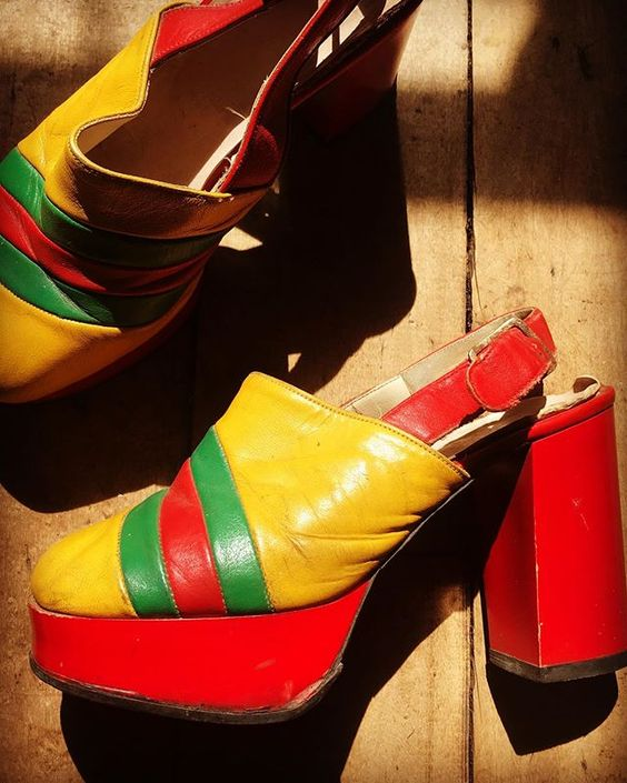 How to use colour in a room with colourful vintage 70s platform shoes