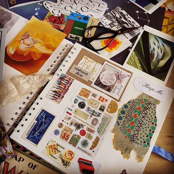 19 creative ways to use paper.Lifestyle flat lay of a colourful scrapbook.