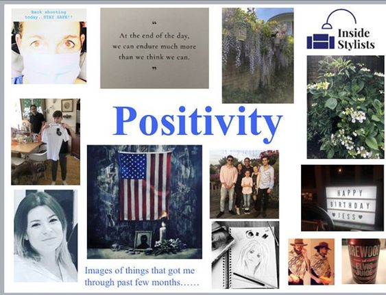 How to stay positive online in 2020. Collage of positive images