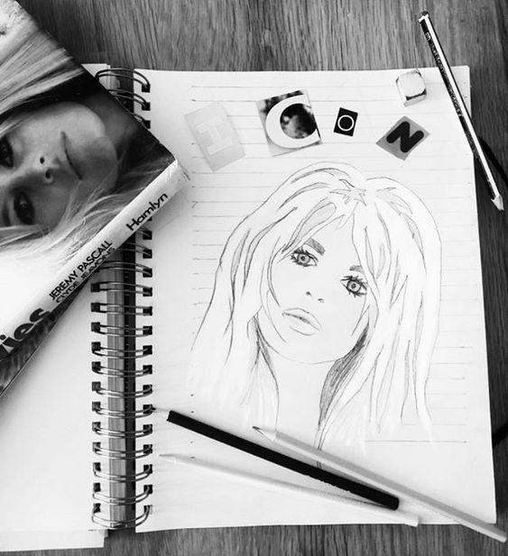 19 creative ways to use paper. Pencil sketch of Bridget Bardot in an open sketch book
