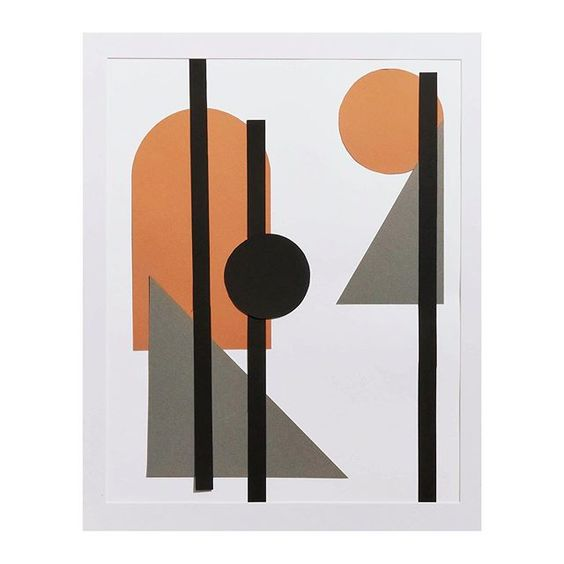 19 creative ways to use paper. Geometric modern art in muted grey and orange colours