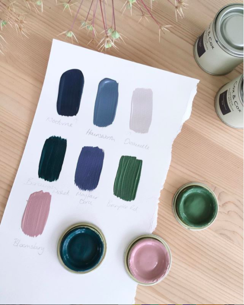 Paint samples painted onto white paper