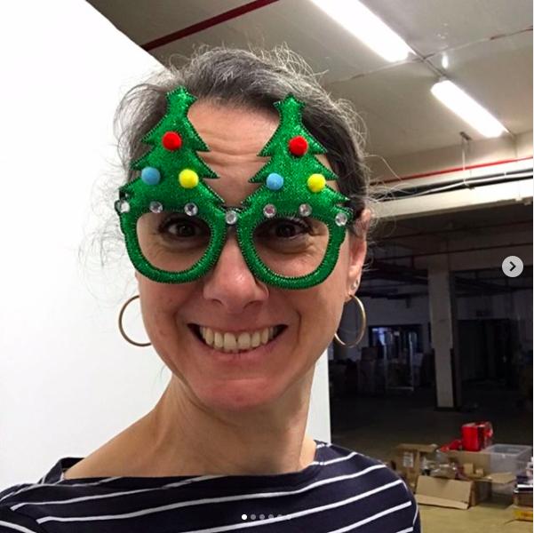 Behind the scenes shot of interior stylist Emma Morton-Turner at an interiors Christmas shoot