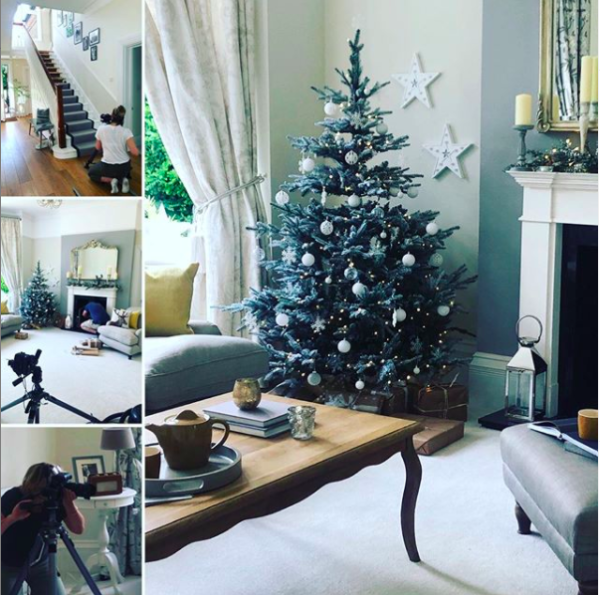Behind the scenes shots of a Christmas interior styling photoshoot