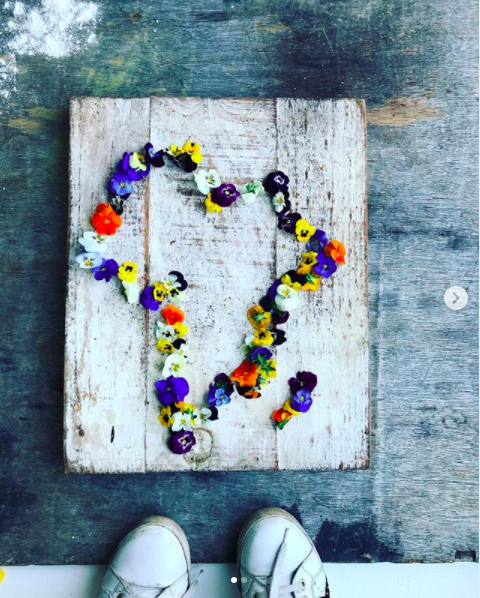My happy place. Colourful petals in the shape of South Africa on a wooden plinth.