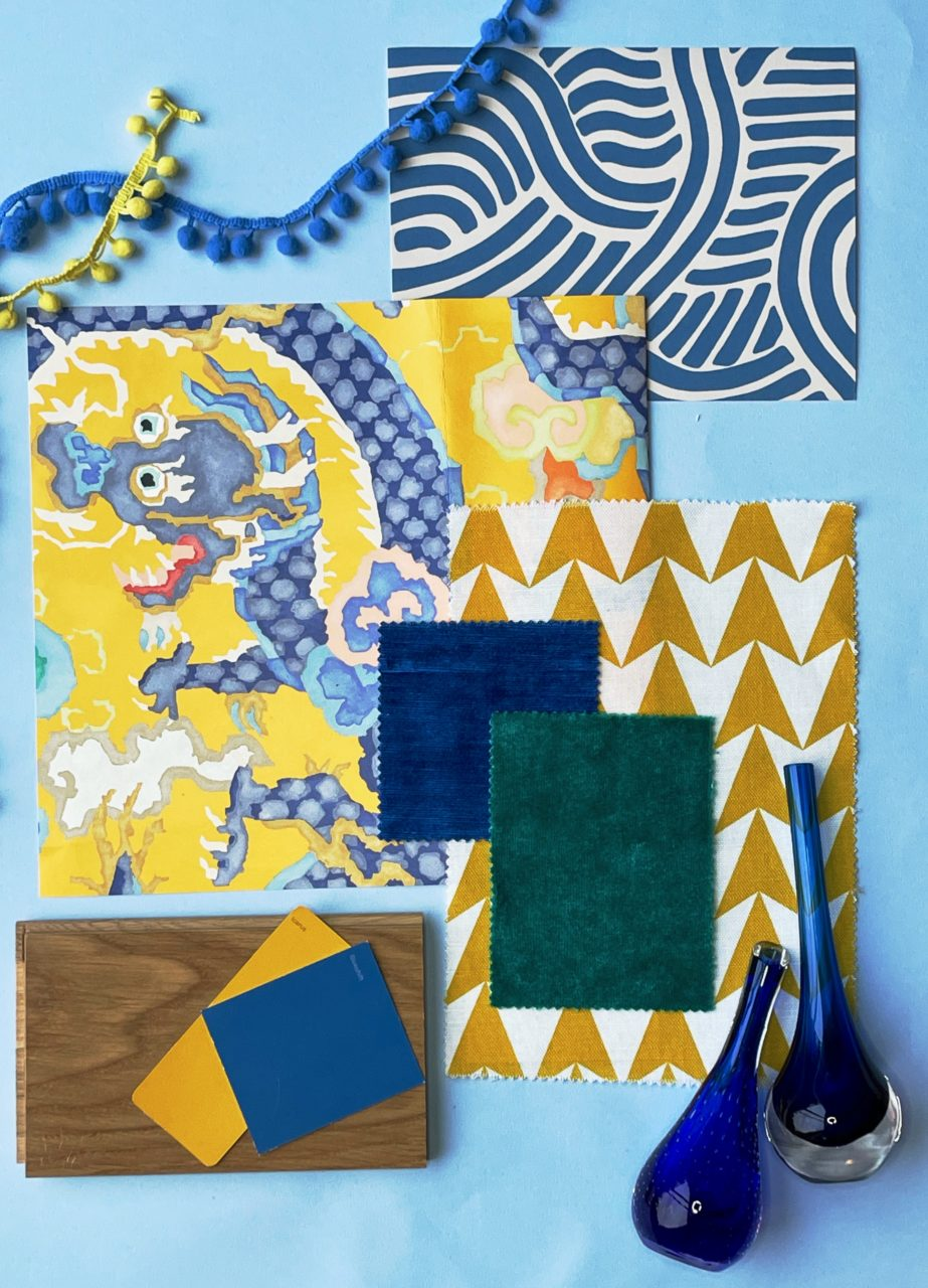 Bold yellow and blue moodboard