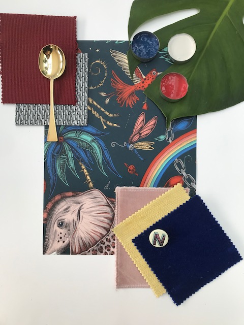 Bold Brights MoodBoard for perfect room decorating with elephants