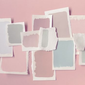 Selection of pastel paints for room decoraing when painting a room