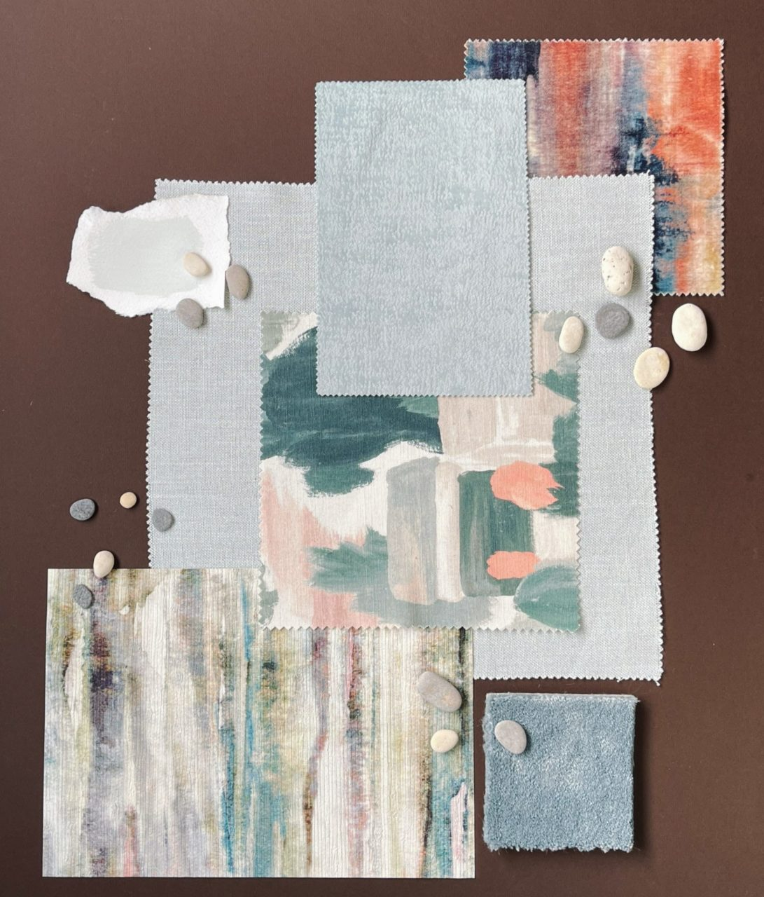 Painterly moodboard for a cosy living room