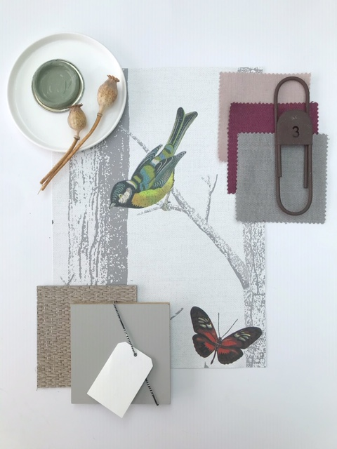 Nature inspiring moodboard for an office room or living room