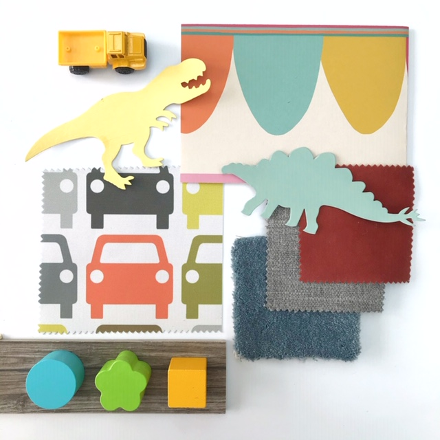 Colourful Mood Board for a Children's playroom