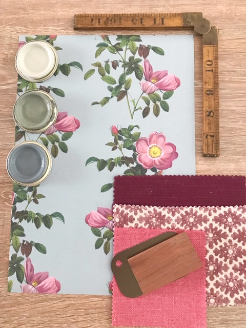 Moodboard featuring floral wallpaper from Milola designs