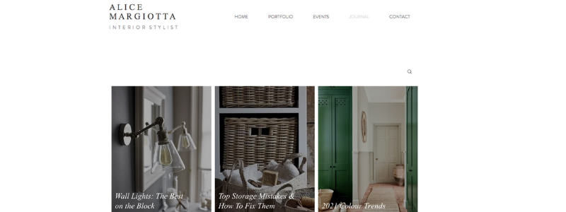 Image featuring blog posts on interior styling