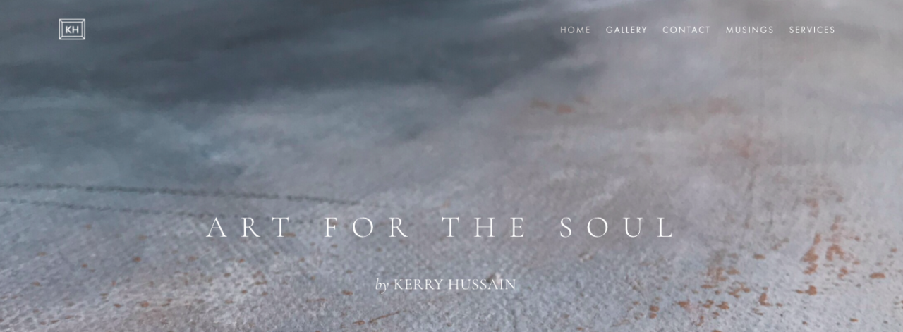 Grey textured background advertising Kerry Hussain's Art for the Soul